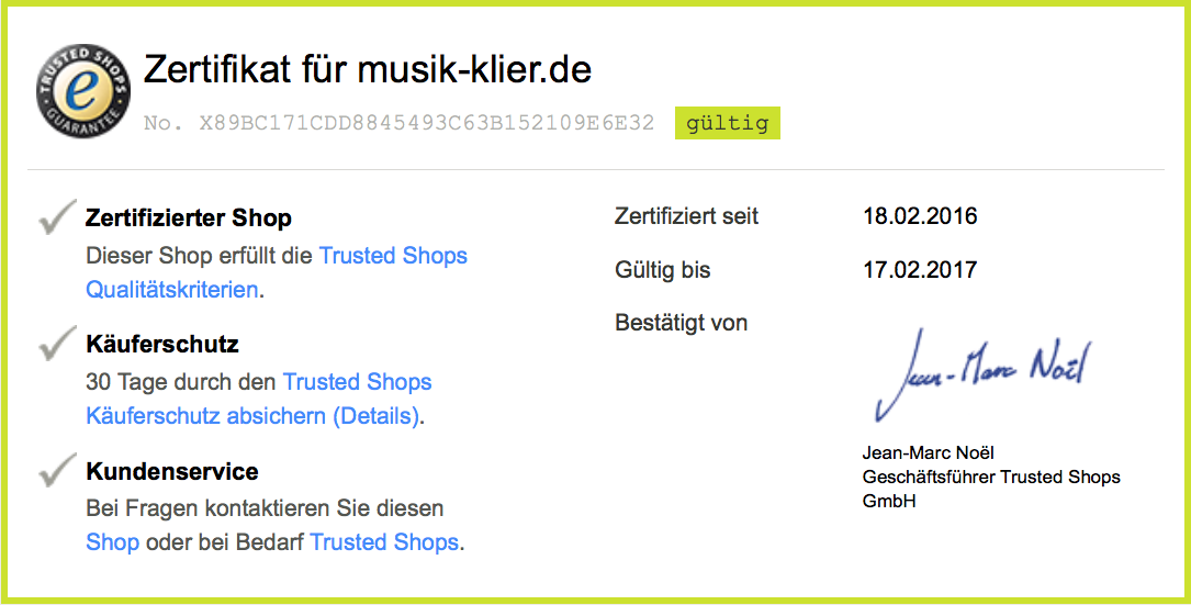 Trusted Shops Zertifikat