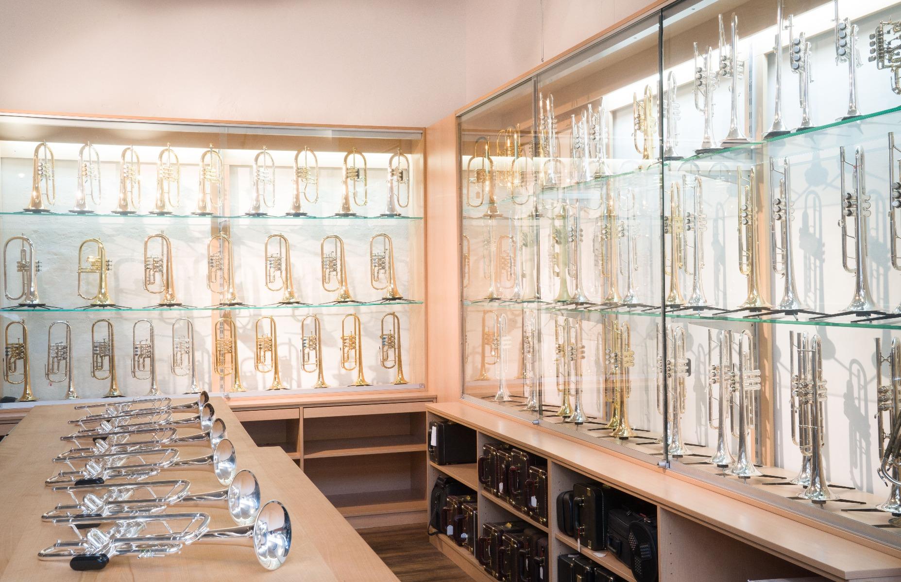 Blasinstrumente hinter einer Glasvitrine