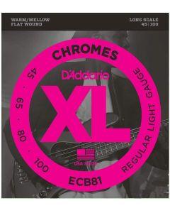 DAddario ECB81 Chromes Bass Light 045-100 Flatwound