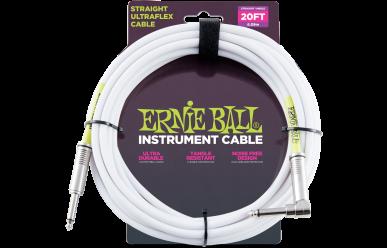 Ernie Ball Instrumentenkabel, gerade/gewinkelt, 6,09m, weiß