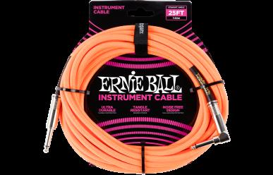 Ernie Ball Instrumentenkabel, gerade/gewinkelt, 7,62m Neonorange