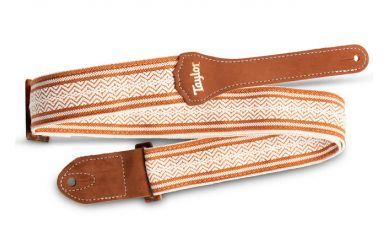 Taylor Academy Series Strap, White/Brown Jacquard Cotton, 2""