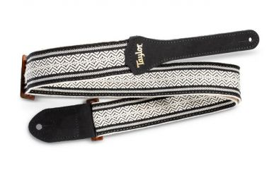 Taylor Academy Series Strap, White/Black Jacquard Cotton, 2""