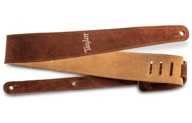 Taylor Guitar Strap, Chocolate, Embroidered Suede, 2.5""